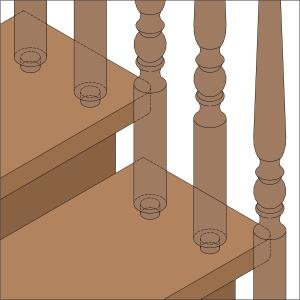 крепление на Шип-Паз узла Балясина-Ступень деревянной лестницы lascalagrande