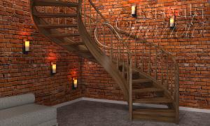 винтовая лестница изготовленная из дуба